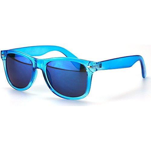 Sense42 | Retro Sonnenbrille | Vintage-Look für Damen und Herren | verspiegelte Gläser | mit Federscharnier-Bügel | transparent | schwarz, blau, grün, orange, klar