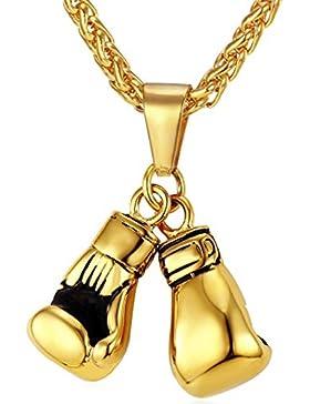 MESE London Boxhandschuh-Halskette 18K Gold Uberzogene Ketten Männer Anhänger - Elegante Geschenkbox