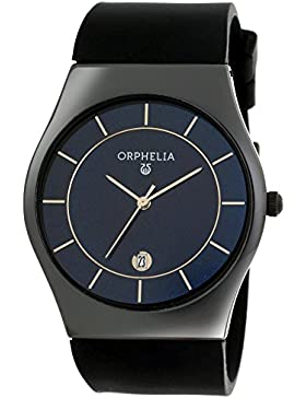 Orphelia Herren-Armbanduhr | Herrenuhr | Quarz-Uhrwerk | Analog Uhr mit Silikon-Armband in schwarz