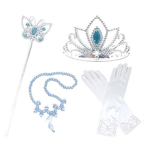 L-Peach 4Pcs Prinzessin Verkleiden Dress Up Handschuhe Blau Diadem Halskette Zauberstab für Geburtstag Halloween Karneval-Partei Cosplay (Halloween Prinzessin Kostüme Peach)