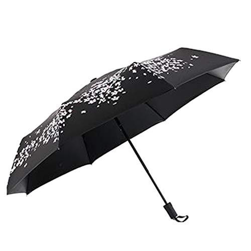 Automatische Teleskopleuchte kompakt Damen Herbst Kirsche bunt Regenschirm Reise Falten Anti-UV-Sonnenschirm schwarz - Herbst-kirsche
