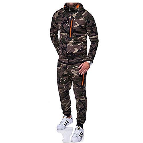 Morbuy Herren Jogging Sweatshirt Hose Anzug Tarnung Trainingsanzug Sweatshirt Hose Sportanzug (XL, Tarnung grün)