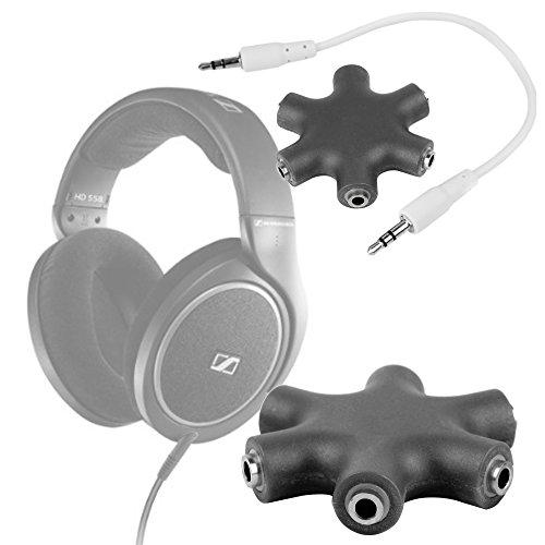 DURAGADGET Divisor De Auriculares Negro Para Auriculares Sennheiser HD 598 | Aukey EP-B26 | NUBWO S1 Bluetooth 4.1 | Sunvito 4 en 1 - ¡Conecte Hasta 6 Auriculares!