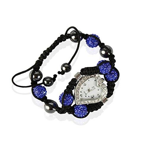 Ducomi® Nargis Zen Shamballa bracciale regolabile 6 sfere cristallo 10 mm (Blue)