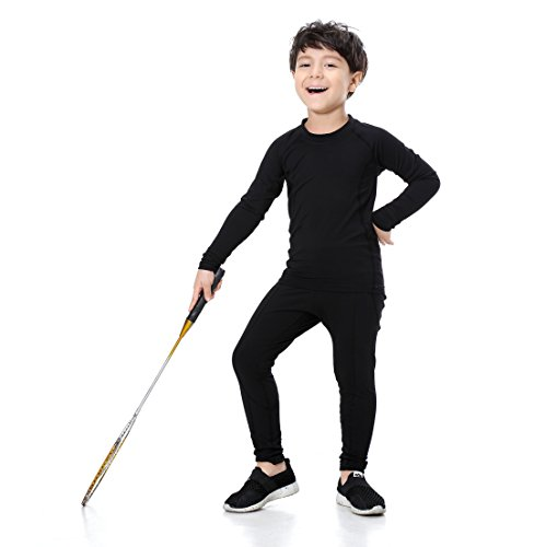 UrChoiceLtd   Boys Football Tracksuit Bottoms New Top Training Kit Set Size Age XS-XL for Running Trousers Base Layers Compression Tight Pants Clothing Sets  Black  L