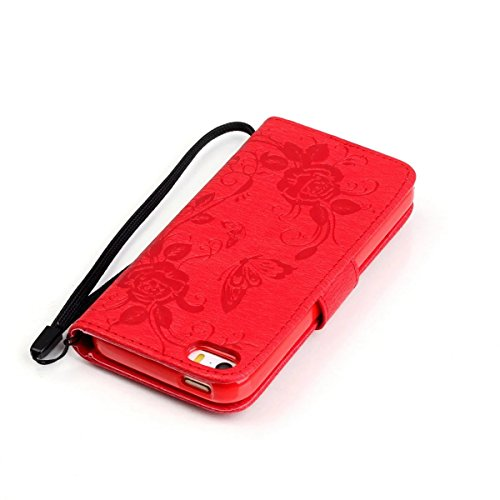 iPhone Case Cover Premium PU-Leder Tasche Cover mit Resine Rhinestone und hängenden Seil Folio Stand Case Embossing Schmetterling Blumen Brieftasche Fall für iPhone 5S SE ( Color : Deongaree , Size :  Red