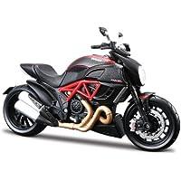 Maisto Ducati Diavel Carbon: Originalgetreues Motorradmodell im Maßstab 1:12, mit Seitenständer Federung und Gummirädern, 18 cm, rot-schwarz (511023)