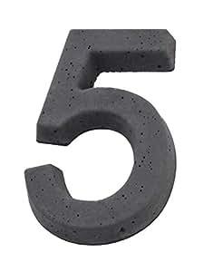 Béton, pierre aspect 3D numéro de rue 5, design thorwa ® gris anthracite noir/h :  170 mm
