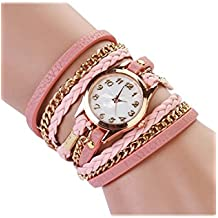 SODIAL(R) Reloj de brazalete de Correa de Cuero sintetico Retro de Mujeres de Moda Reloj de pulsera-rosado