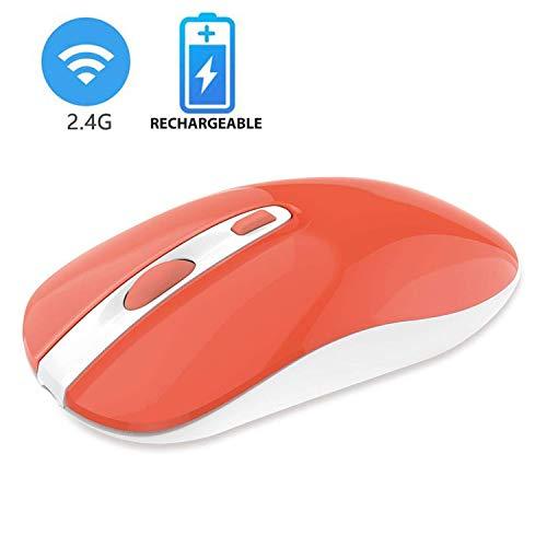 cimetech Wiederaufladbare kabellose Maus, 2.4G Funkmaus Schnurlos Wireless Kabellos Schlank Optische Maus mit USB Nano Empfänger für PC/Tablet/Laptop und Windows/Mac/Linux (Lebende Koralle)
