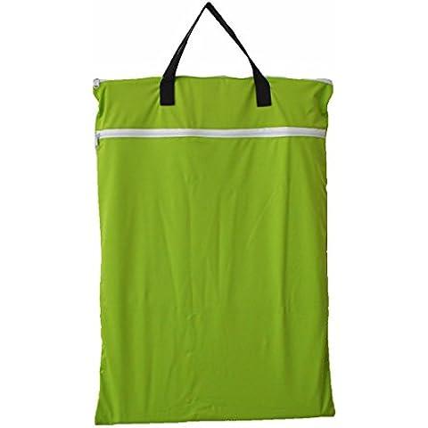 Da appendere, grande panno umido/asciutto Secchio per pannolini, borsa per pannolini riutilizzabili per la biancheria verde