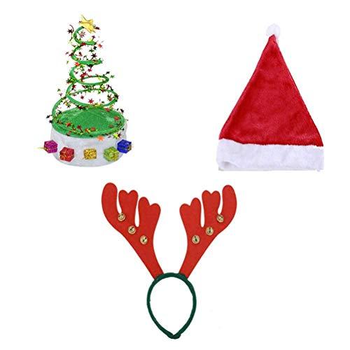 TOYMYTOY 3 Stücke Weihnachten Hüte Weihnachtskostüm Hüte - Weihnachtsbaum Frühling Hut Santa Claus Hut Geweih Hut Stirnband