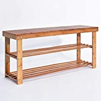 Hododou Bamboo Shoe Rack, 2 Tier Wooden Shoe Rack Bench Storage Organiser 90 x 27 x 45cm Made of 100% Natural Bamboo Max Load Capacity up to 100KG