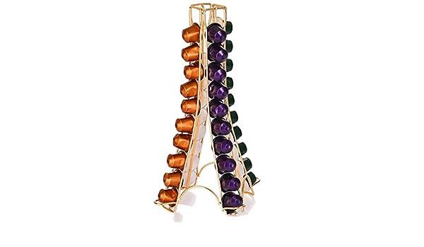 Gold Steerfr Support /à Capsules De Caf/é Porte-capsules Rotatif Pour Nespresso , Capacit/é 32//40 Cosses /à Une Tasse De Caf/é Accessoires De Bar /à Caf/é