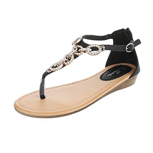 Zehentrenner Damenschuhe Peep-Toe Zehentrenner Reißverschluss Ital-Design Sandalen / Sandaletten Schwarz