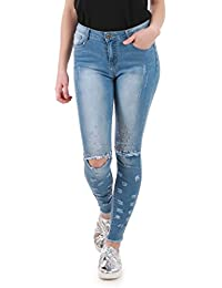 La Modeuse - Jeans coupe skinny délavé, destroy