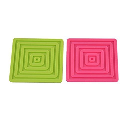 Dealmux Table carrée en silicone résistant à la chaleur Tapis de tasse Dessous de Verre Pad Set de table 2 pcs
