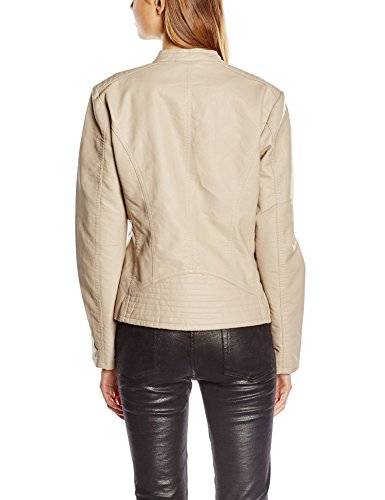 Only - Onlfreya Faux Leather Biker Otw Noos, Giacca Donna Beige (Simply Taupe)
