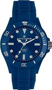 Alpha Saphir Unisex-Armbanduhr 371W, 44 mm blau
