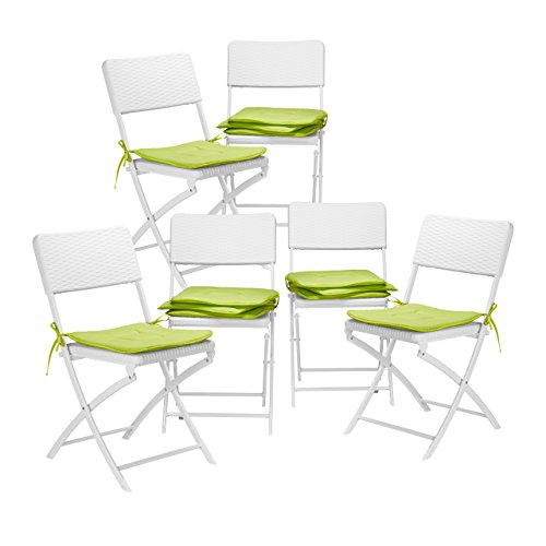 12x Stuhlkissen, Sitzkissen mit Schleife, Auflage für Stühle in Haus und Garten, waschbar,...