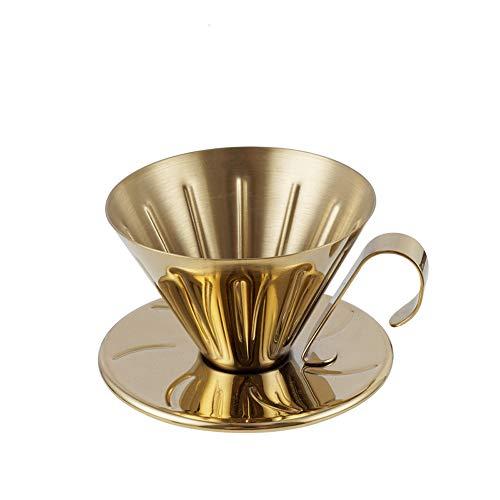 Edelstahl Filterschale Handschale Kaffee Filterschale Haushalt Tropfkaffeetopf Einlochmontage Filterschale (Farbe : Gold)