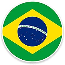 2 x Brasil Bandera Vinilo Adhesivo de vinilo para portátil de viaje equipaje coche iPad Sign