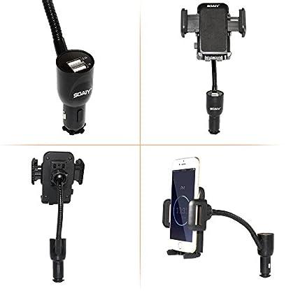 SOAIY-3-in-1-Universal-KFZ-Auto-Halterung-mit-Ladegert-Dual-USB-Zigarettenanznder-Netzteil-Ladefunktion-inkl-LED-Autobatterieanzeige-31A-1224V-kompatibel-mit-Smarthpones-iPhone-Samsung