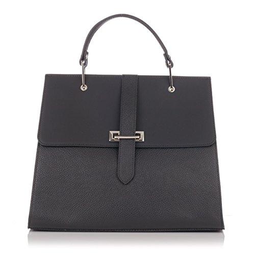 Laura Moretti - Glatte und metallische Handtasche aus Leder (Satchel Buckle Handtasche)