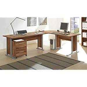 Stella Trading Office Line Eckschreibtisch, Winkelkombination inkl. Container, Holzdekor, Walnuss, (B/H/T) 220/170 x 72 x 70 cm