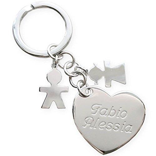 Portachiavi in argento ciondolo a forma di cuore con sagome bimbi, Portachiavi personalizzato con incisione (Cuore+bimba+bimbo)
