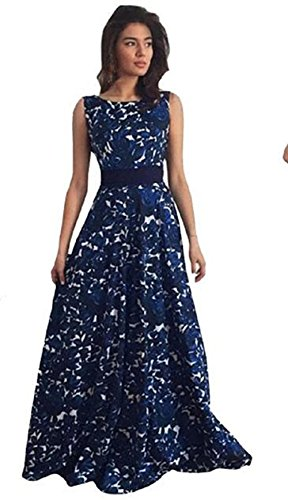 Tongshi Vestido de bola formal del partido del vestido floral de las mujeres el vestido largo de noche de la boda (XL)