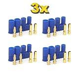 ulex® Original EC2 Premium Stecker Buchse Male Female Goldstecker Goldkontaktstecker 30A Dauerstrom für ESC Lipo Akkus von Mr.Modellbau® (3x Paar)