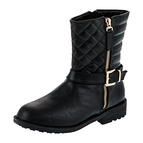 Mädchen Boots Stiefel mit Reissverschluss Winter Schuhe Stiefelette #252sw Schwarz (Stiefel Kinder)