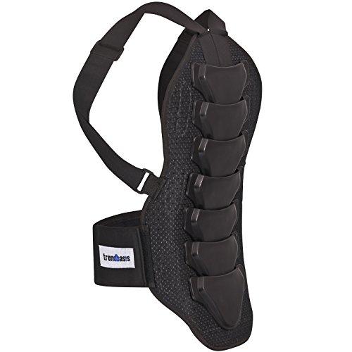trendbasis Rückenprotektor für Ski und Snowboard, geprüfter Rückenschutz für Wintersport, Snowboard und Ski Rückenprotektor in Größe L, Wirbelsäulenschutz in Schwarz