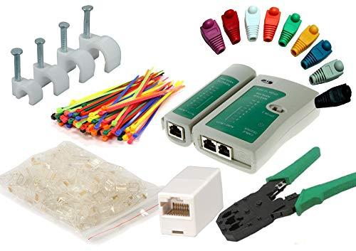 MutecPower Netzwerk Werkzeug Set enthalt: Netzwerk Kabeltester + Crimpzange RJ45 + Modular RJ45 Stecker 50 Stück + 50 Kabelschellen + 50 Anschlussteckers + 50 Kabelbinder + 2 netzwerkkabel Kupplung