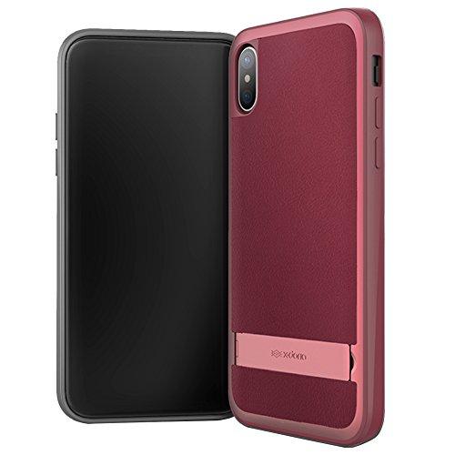iPhone X hülle, X-Doria Stander Serie, Aluminium Rahmen, Leder Schutzhülle mit verstecktem Stand für Apple iPhone X - Schwarz Rot