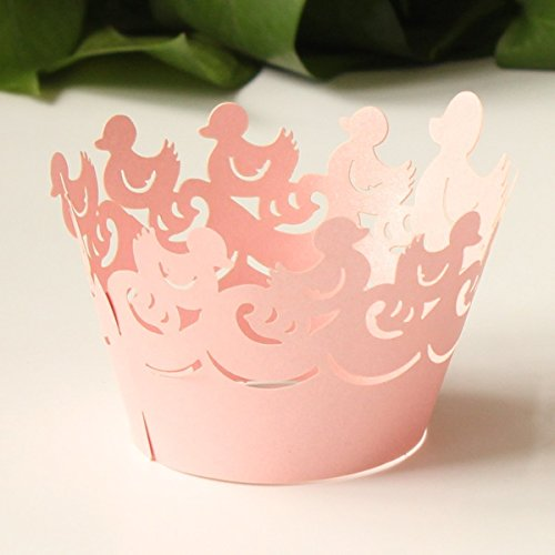 24pcs Rosa Pato Ducky Laser Cut envoltura de la magdalena cajas del mollete de la torta bautizo favor de la ducha del bebšŠ