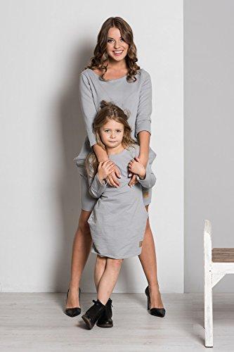 Happy Mama. Mutter Tochter Kleider Seitentaschen Rundhalsausschnitt. 205p Mutter - Grau