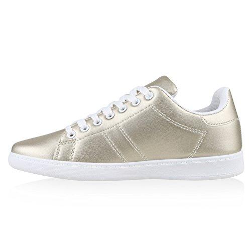Sportliche Damen Sneakers | Sneaker Low Metallic Lack | Turnschuhe Muster Glitzer | Retro Flats Schnürer | Animalprints Veloursleder-Optik Gold