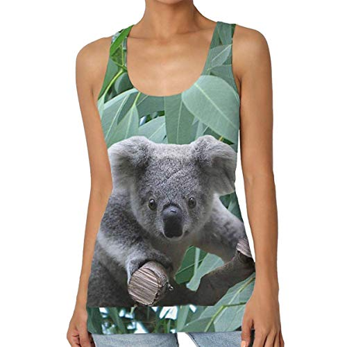 Ärmelloses Graphic T-shirt (BJJHMY Koala und Eukalyptus Frauen Print Graphic Tank Tops Klassisches ärmelloses T-Shirt)