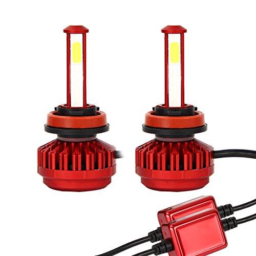Latinaric 2pcs H8 H9 H11 4-Seitige Auto LED Scheinwerfer Birnen Umbausatz mit integriertem Lüfter IP68 Wasserdicht 6000K 8000LM (Was Für Eine Helle Ersatz-birne)