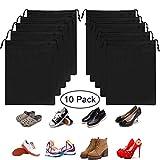 OMZGXGOD - 10 Pack Scarpe Borse per Viaggiare, Borsa da scarpe nera impermeabile e traspirante,chiusura a cordoncino, Multiuso Antipolvere Sacca da Viaggio Impermeabile