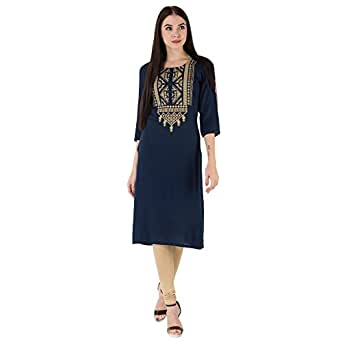 M&D 3/4 Sleeve Beautiful Embroidered Pure Cotton Knee Long Kurti for Women(Small) Navy Blue