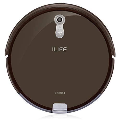 ILIFE A8 Saugroboter/automatischer Roboterstaubsauger ideal für Tierhaare/Laminatboden und Teppich/mit Ladestation / 72mm flach/Beutellos / Auto Resume/Timer, braun