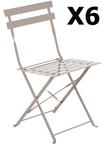 PEGANE Lot de 6 chaises Pliantes en Acier Coloris Taupe - Dim: 42 x 46 x 80 cm