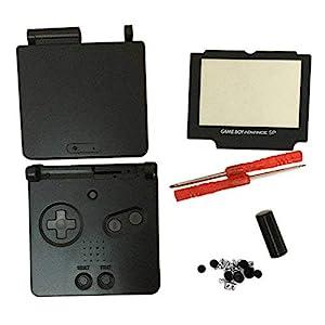 Meijunter Ersatz Gehäuse Hülle Housing Shell Case Cover mit Bildschirm Bildschirmobjektiv & Schraubenzieher Tool Ersatzteile für Nintendo Gameboy Advance SP GBA SP Console (schwarz)