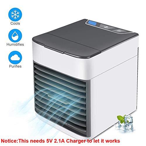 Climatiseur Portable USB, Mini-purificateur d'humidificateur pour Refroidisseur d'air 3 en 1 et 3 Vitesses réglables,avec veilleuse à Del pour la Chambre à Coucher du Bureau.