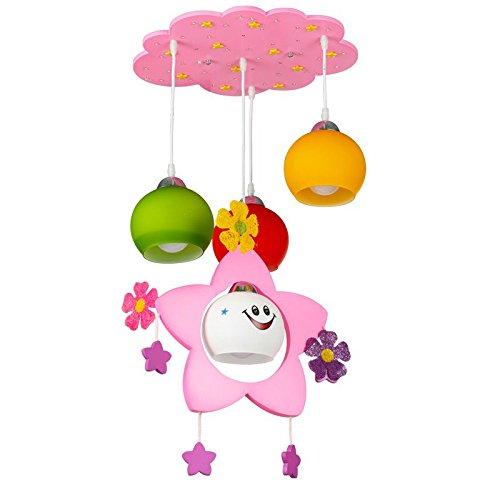 Dessin animé Princesse salle Suspension mignon en bois étoile enfant Chambre à coucher lampe suspendue Chambre de bébé Pendentif lumières Lampes
