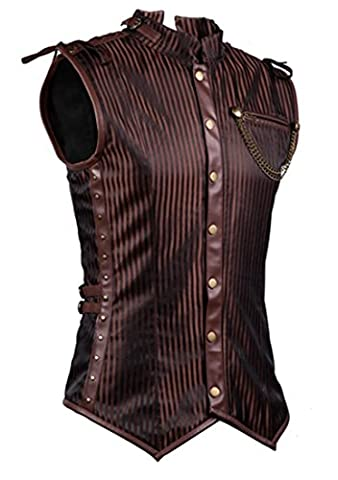 Charmian Men's Spiral Steel Boned Victorian Steampunk Gothic Retro Stripe Waistcoat Vest with Chain Plus Size Brown XXX-Large