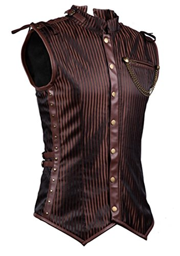 Charmian Men's Spiral Steel Boned Victorian Steampunk Gothic Retro Stripe Waistcoat Vest with Chain Plus Size Brown XXXX-Large (Steampunk Pirate)